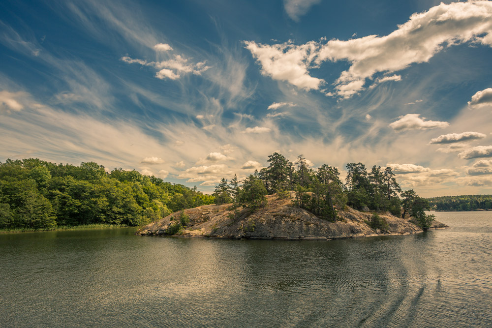 Blue sky with clouds. summer in swedish archipelago