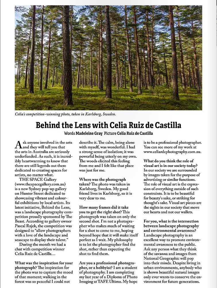 interview with photographer Celia Ruiz de Castilla
