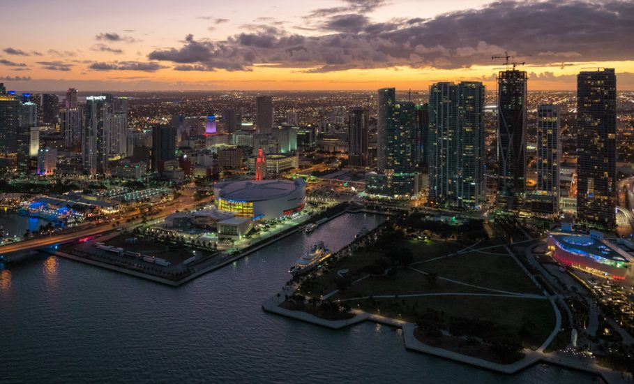 Aerial view of  American Airlines Arena in Miami . View of American Airlines Arena at sunset. American Airlines Arena view from a helicopter.