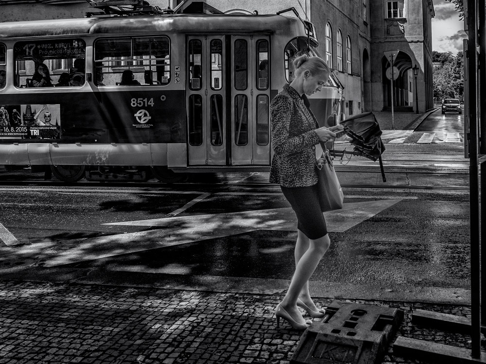 Lady and phone. Lady with a phone waiting for the bus. Sunny day in Prague.  street photography.