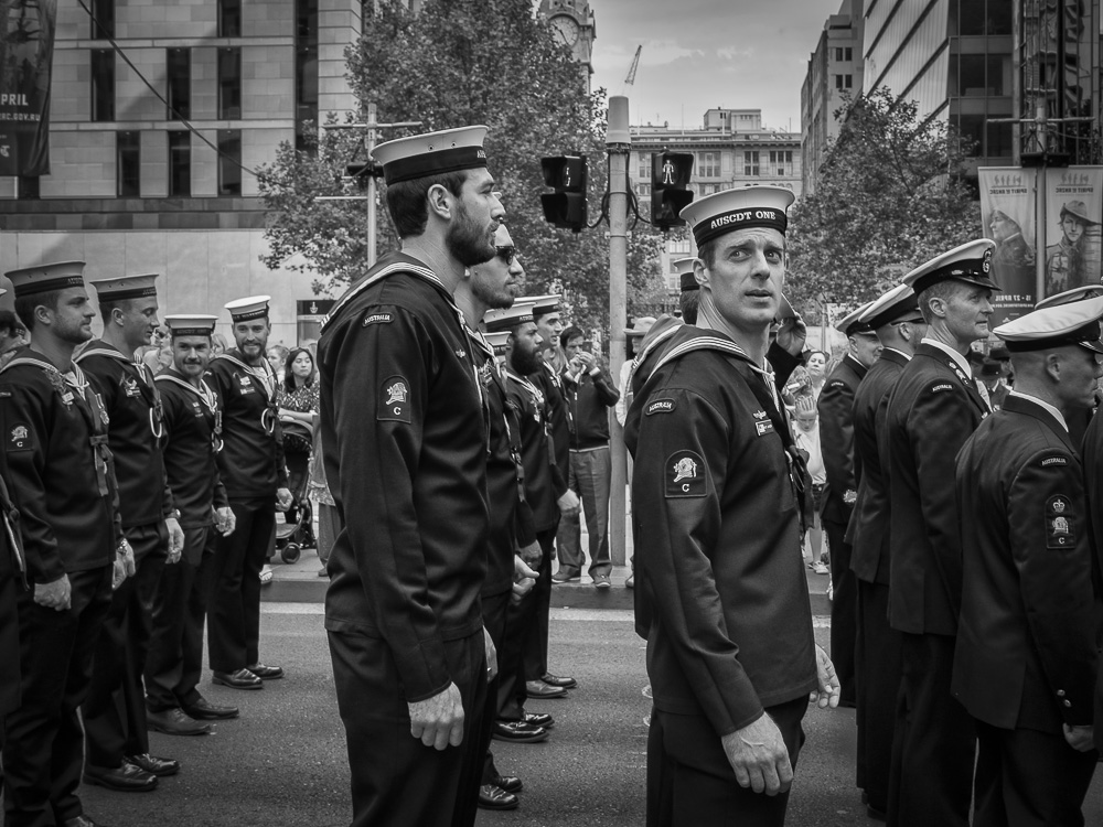 Sailors waiting to march during Anzac Day parade