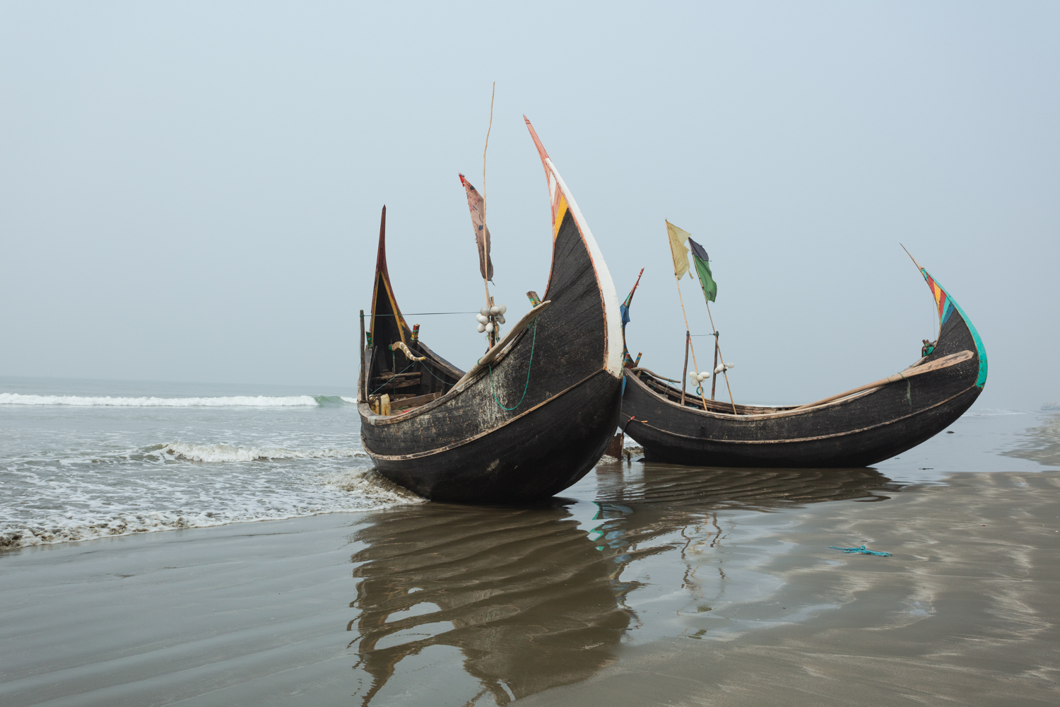 Community made boats at  Bay of Bengal, Cox's Bazar Bangladesh