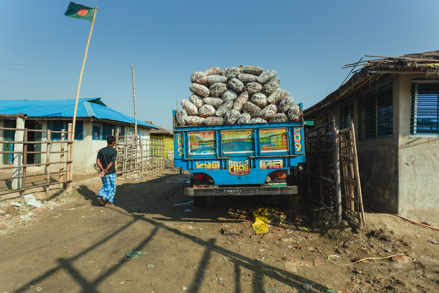 Truck load of dried fish ready for distribution from Dhaka - Bangladesh Dried Fish Village..