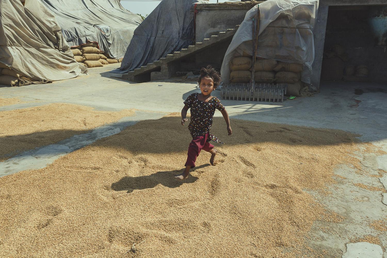 Little girl running through rice at Dhaka, Bangladesh Rice Mills.