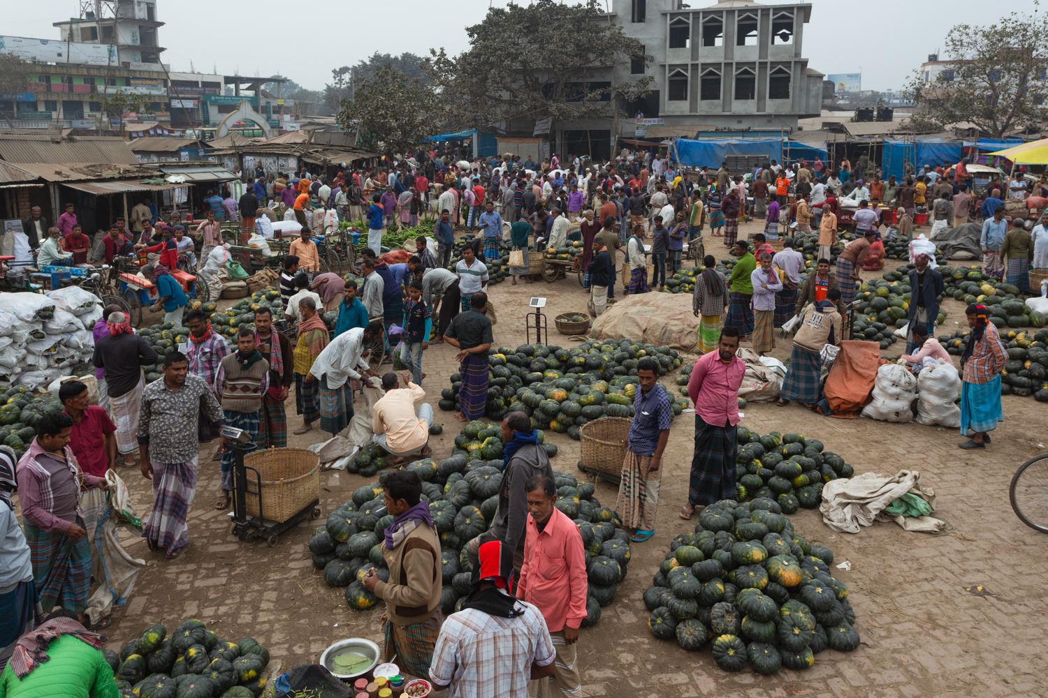 Busy, bustling vegetable markets in Dhaka, Bangladesh.