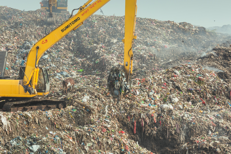 Smoky mountain of toxic waste and decaying food at Chittagong, Bangladesh rubbish site.
